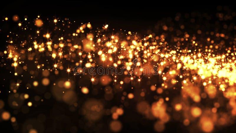 Złociste cząsteczki lś w powietrzu, złoto błyska w viscous fluidzie skutek adwekcja z głębią pole i royalty ilustracja