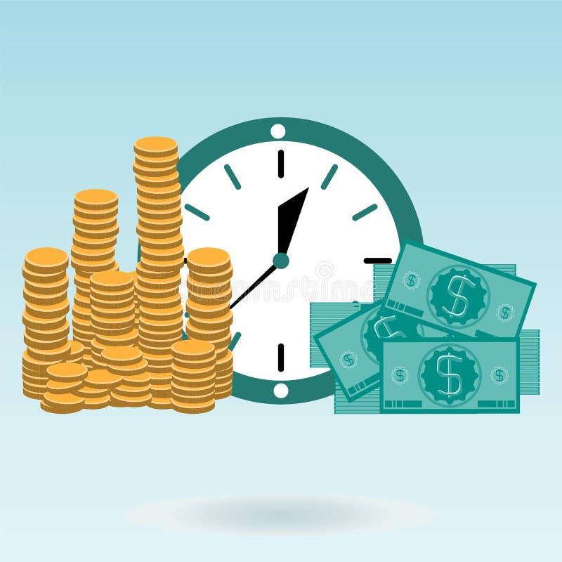 Złociste monety i dolarowi rachunki na zegarze ilustracji