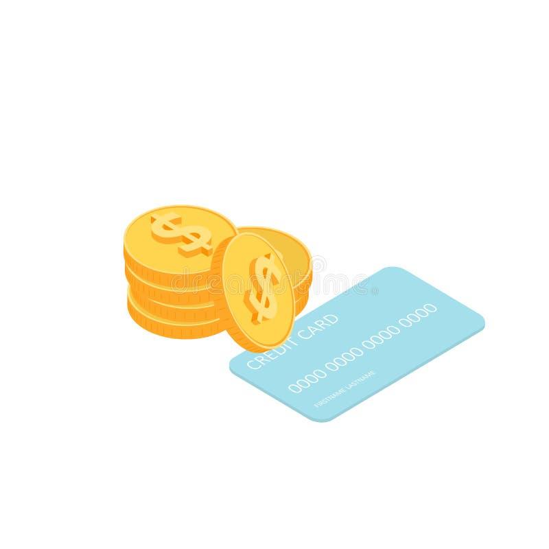 Złociste monety i karta kredytowa ilustracji