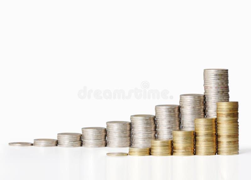 Złociste monety i wykres one obraz stock
