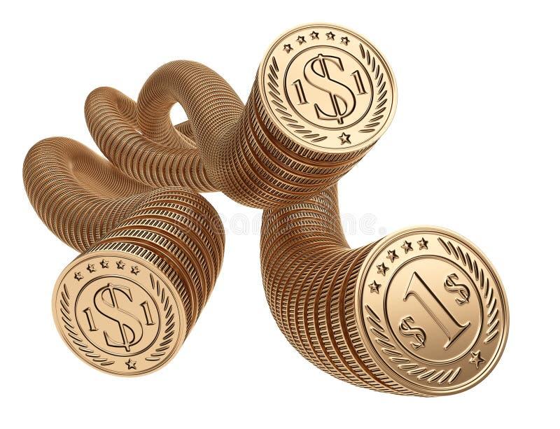 Złociste monety jeden jeden Pieniądze pojęcie przepływ gotówki ilustracja wektor