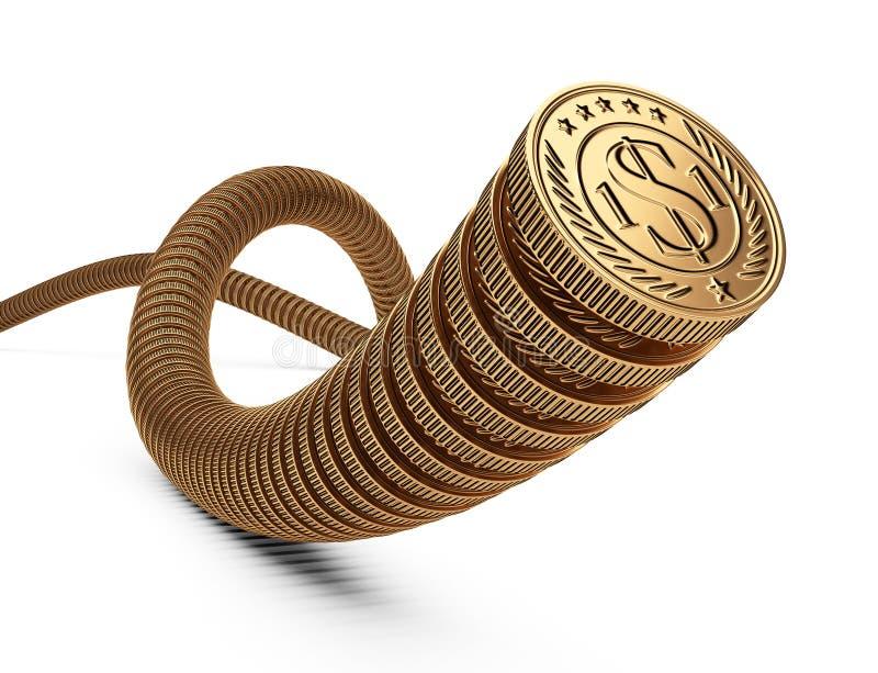 Złociste monety jeden jeden Pieniądze pojęcie przepływ gotówki ilustracji