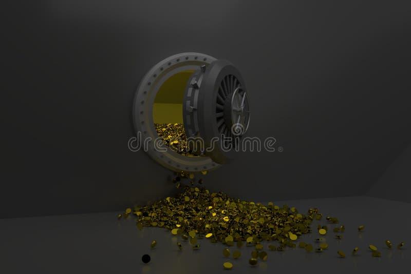 Złociste monety nalewać z skrytki, 3d odpłacają się, 3d ilustracja royalty ilustracja