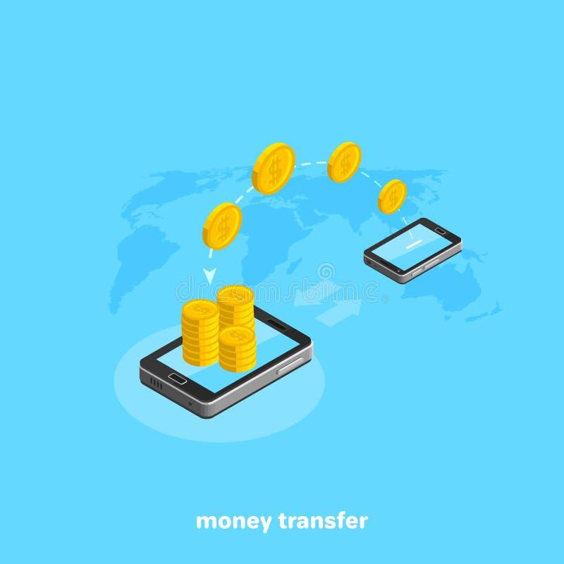 Złociste monety przenoszą od jeden smartphone inny ilustracji