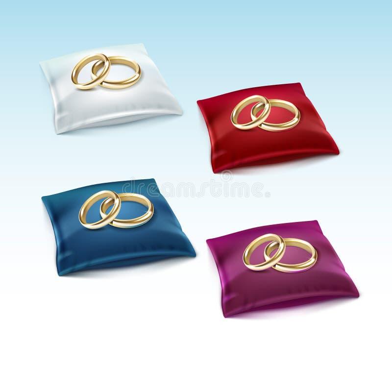 Złociste obrączki ślubne na Czerwonej Białej Błękitnej Purpurowej Atłasowej poduszce royalty ilustracja