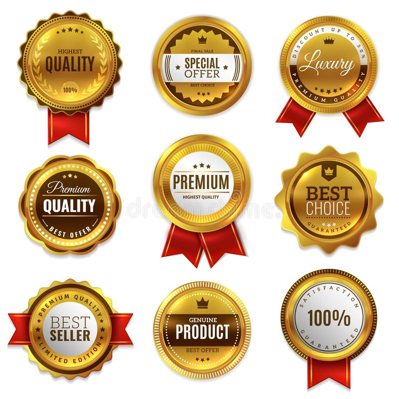 Złociste odznaki foki ilości etykietki Sprzedaż medalu odznaki premii znaczka emblemata gwarancji round wektoru złoty prawdziwy s ilustracja wektor
