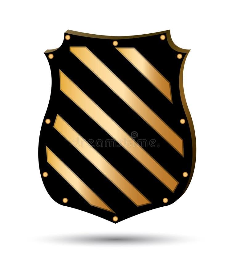 Złociste osłona kształta ikony Złoty emblemata znak odizolowywający na białym tle Symbol ochrona, w?adza, ochrona wektor ilustracji