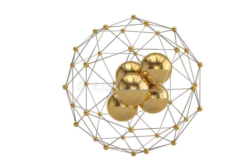 Złociste piłki i molekuły w okręgu round składzie 3d ilustracji