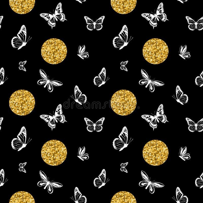 Złociste połyskuje kropki z białych motyl sylwetek bezszwowym wzorem na czarnym tle r?wnie? zwr?ci? corel ilustracji wektora ilustracja wektor