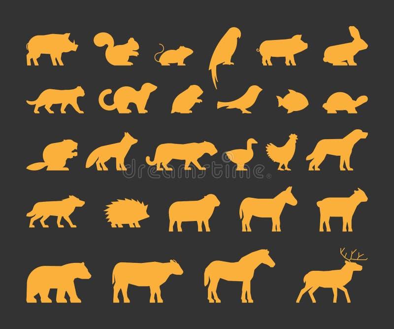 Złociste sylwetki ustawiać gospodarstwo rolne i dzikie zwierzęta ilustracji
