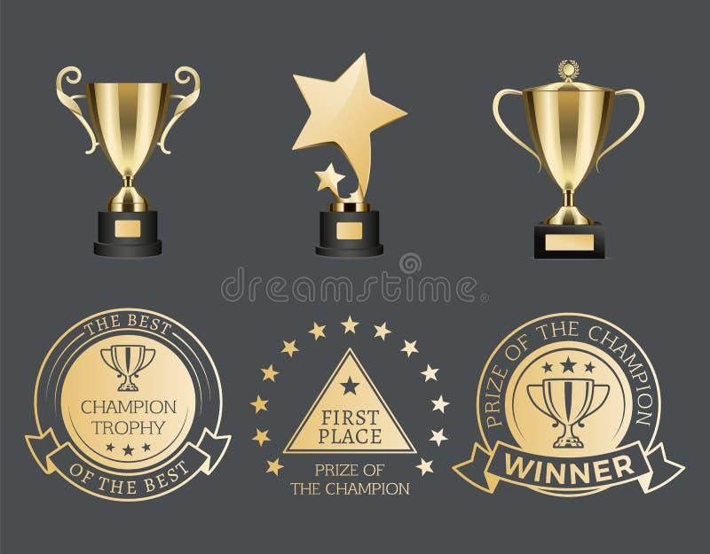 Złociste trofeum filiżanki, medale dla rywalizacja setu i ilustracja wektor