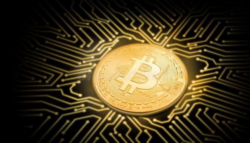 Złocistego bitcoin perspektywiczny widok na jarzeniowym obwodzie na czarnym tle zdjęcie royalty free