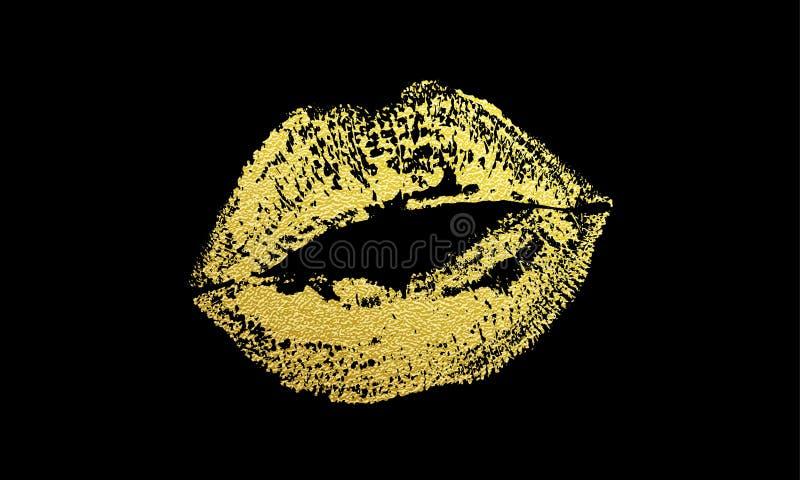 Złocistego buziak warg odcisku błyskotliwości pomadki wektorowy złoty druk royalty ilustracja