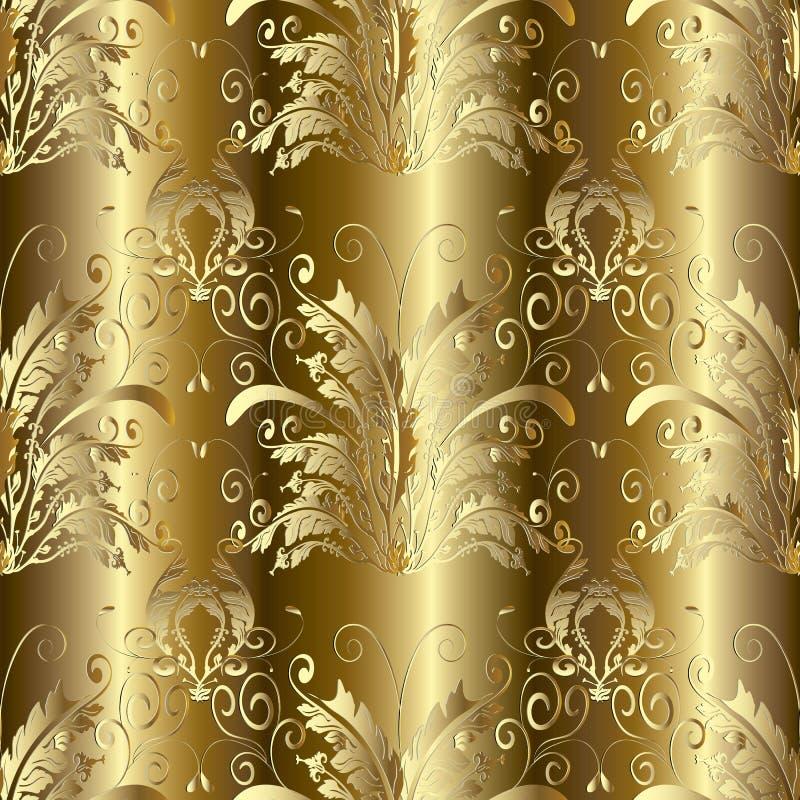Złocistego 3d baroku adamaszka bezszwowy wzór Wektorowy kwiecisty backgroun royalty ilustracja