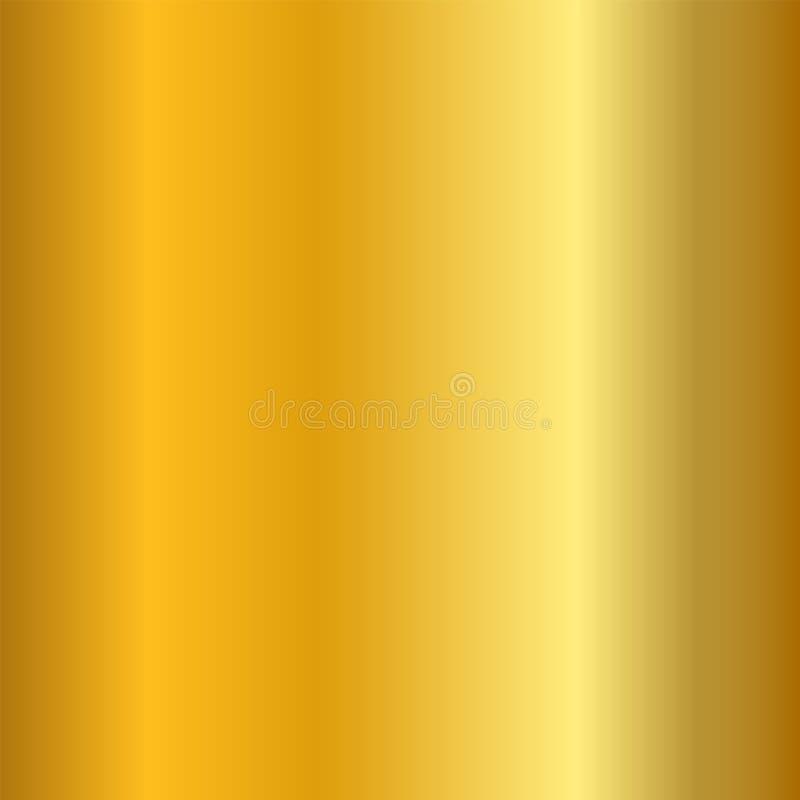 Złocistego gradientu gładka tekstura Pusty złoty metalu tło Lekki kruszcowy półkowy szablon, abstrakta wzór jaskrawy ilustracja wektor