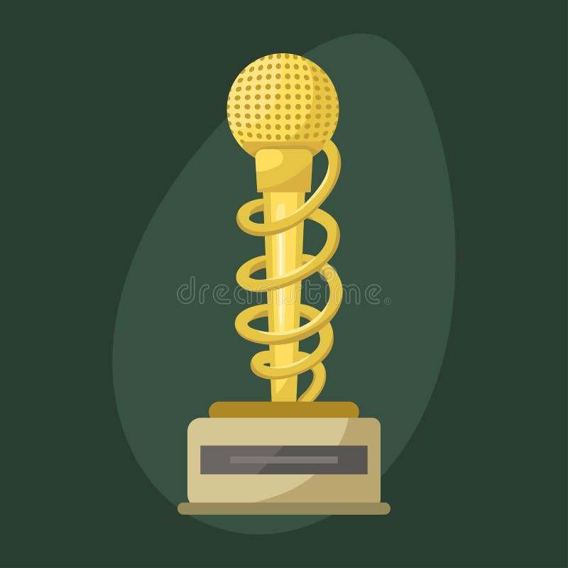 Złocistego gwiazdy rocka trofeum muzycznego mikrofonu rozrywki wygrany osiągnięcia najlepszy clef i rozsądny błyszczący złoty mel ilustracja wektor