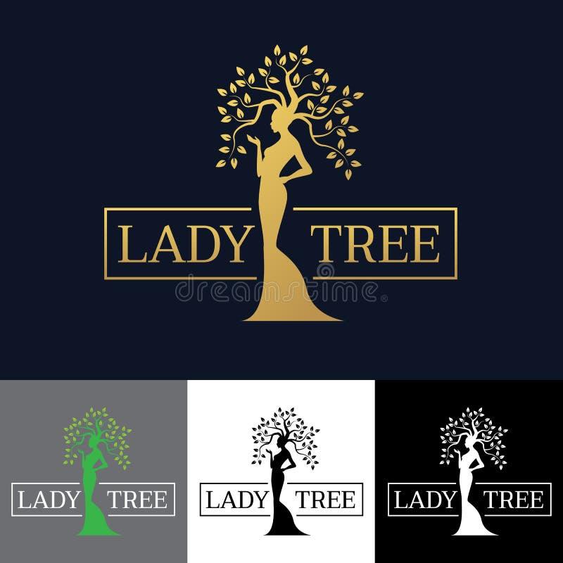 Złocistego kobiety damy drzewnego loga sztuki wektorowy projekt royalty ilustracja
