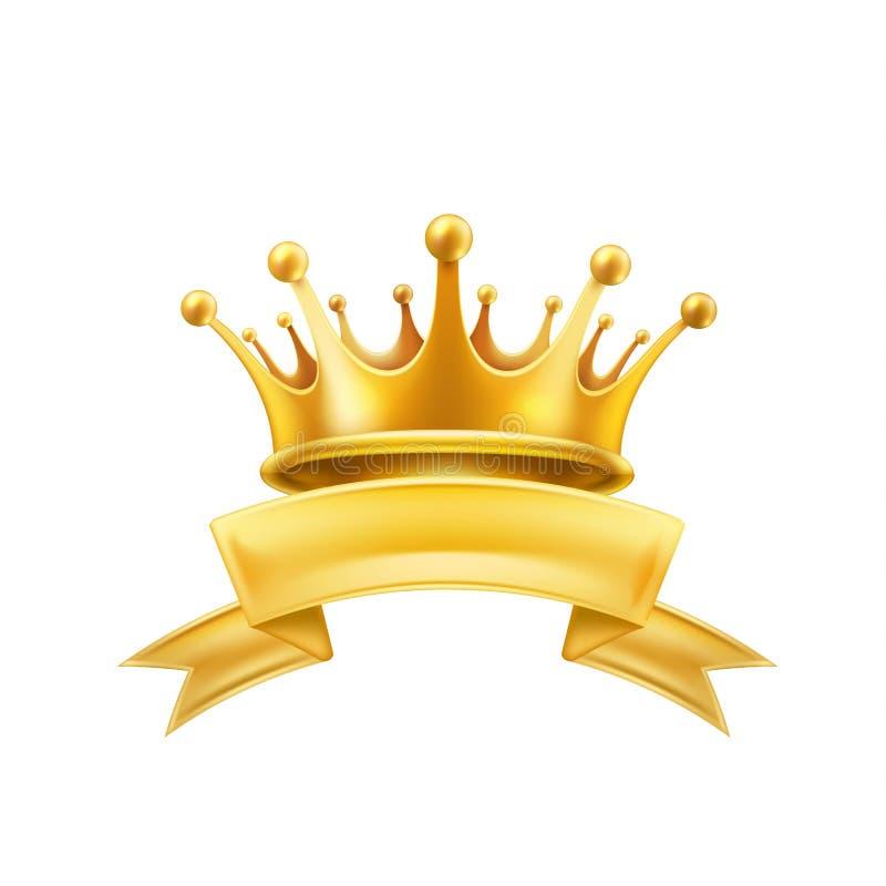 Złocistego korona tasiemkowego zwycięzcy błyszczący szyldowy czerń royalty ilustracja