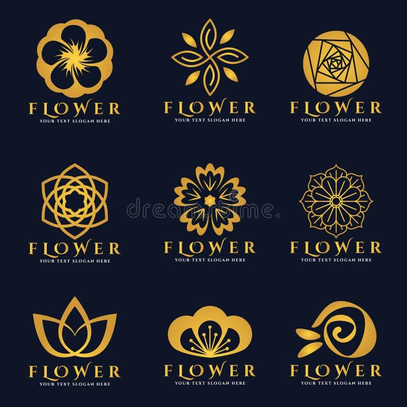 Złocistego kwiatu loga wektoru sztuki ustalony projekt royalty ilustracja