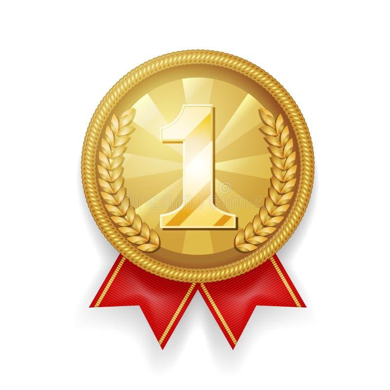 Złocistego nagroda sporta miejsca 1st medalu 3d wektoru czerwona tasiemkowa realistyczna ilustracja royalty ilustracja