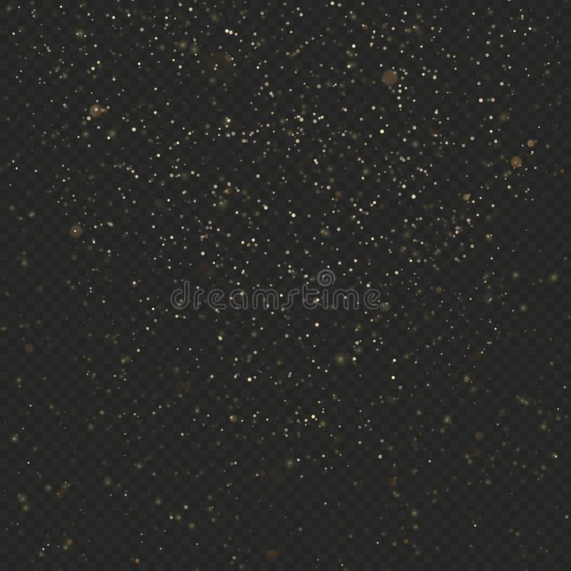 Złocistego pyłu błyskotliwości tekstura na ciemnym przejrzystym tle Wybuch confetti Połyskuje gwiazdy 10 eps ilustracji
