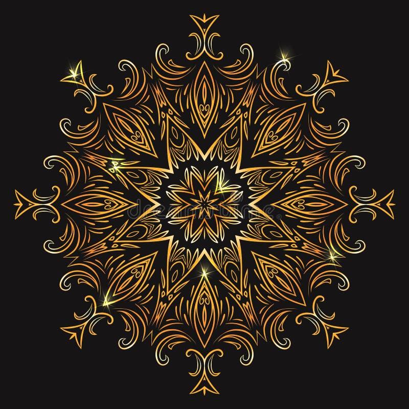 Złocistego rocznika kółkowy mandala z iskrami ilustracji