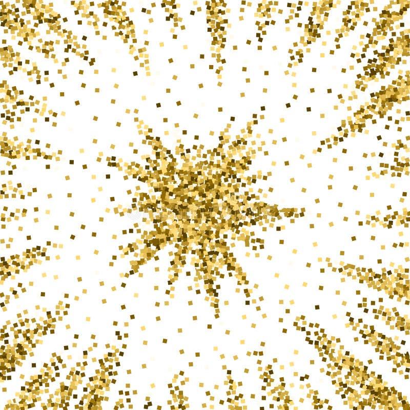 Złocistej błyskotliwości luksusowi iskrzaści confetti rozrzucony royalty ilustracja