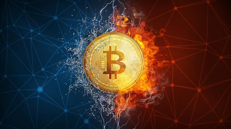 Złocistej bitcoin monety ciężki rozwidlenie w pożarniczych płomienia, błyskawicy i wody pluśnięciach, royalty ilustracja