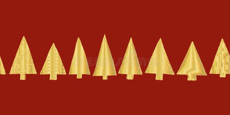 Złocistej folii choinki wektoru wzoru bezszwowa granica Błyszczące złote tekstury doodle choinki w rzędzie na czerwonym tle ilustracji