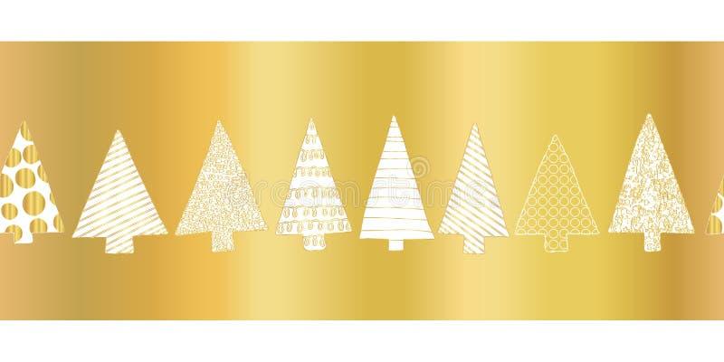 Złocistej folii choinki wektoru wzoru bezszwowa granica Biała ręka rysujący doodle textured choinki na błyszczący złotym z rzędu ilustracji
