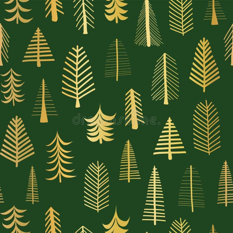 Złocistej folii doodle choinek wektoru wzoru bezszwowy tło Kruszcowi błyszczący złoci drzewa na zielonym tle elegancki projektu royalty ilustracja