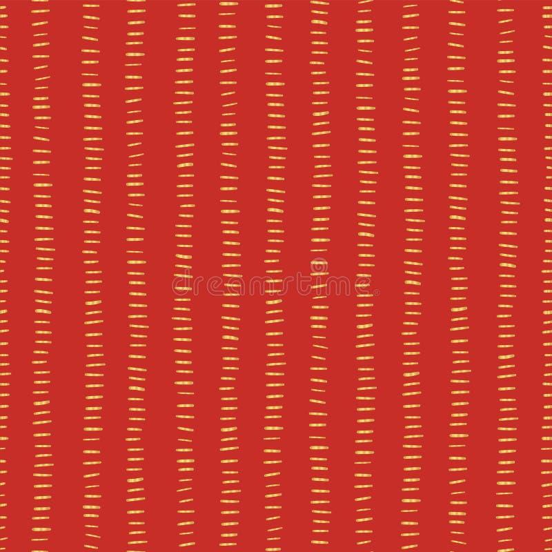 Złocistej folii lampasy na czerwonym bezszwowym Bożenarodzeniowym wektoru wzorze prości tło boże narodzenia Horyzontalni złoci ud ilustracja wektor