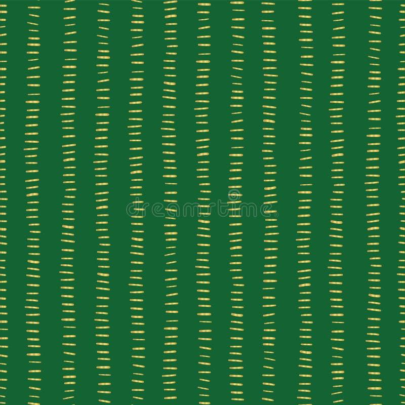 Złocistej folii lampasy na zielonym bezszwowym Bożenarodzeniowym wektoru wzorze prości tło boże narodzenia Horyzontalni złoci ude ilustracji