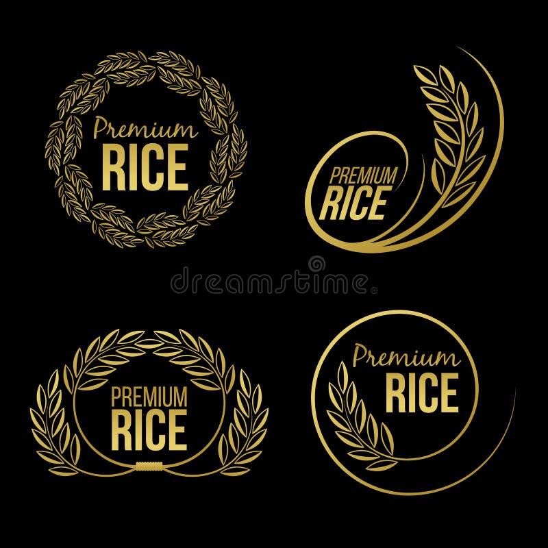 Złocistej irlandczyków ryż premii naturalnego produktu sztandaru organicznie logo na czarnego tła wektorowym projekcie royalty ilustracja
