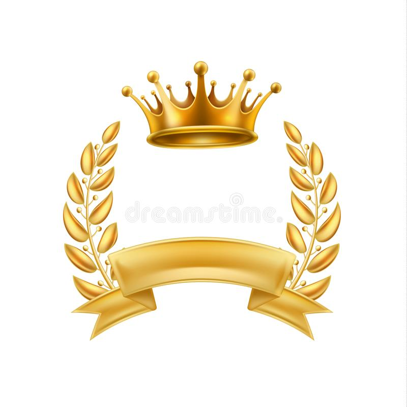 Złocistej korony wianku zwycięzcy laurowa rama odizolowywająca royalty ilustracja