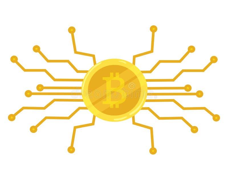 Złocistej monety bitcoin Crypto waluty ikona kolonel przygotowywa ikonę błękitny biznesowego projekta ilustracyjny wszywki ruchu  ilustracji