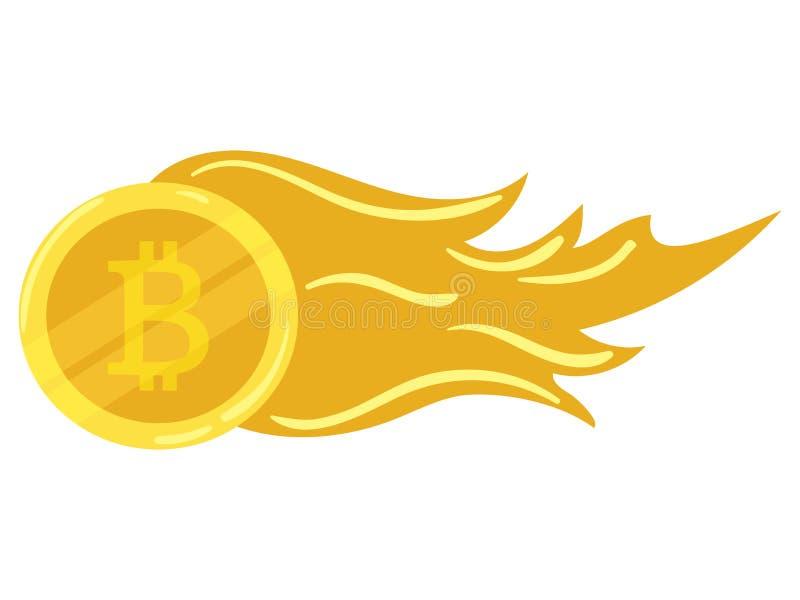 Złocistej monety bitcoin Crypto waluty ikona kolonel przygotowywa ikonę błękitny biznesowego projekta ilustracyjny wszywki ruchu  ilustracja wektor
