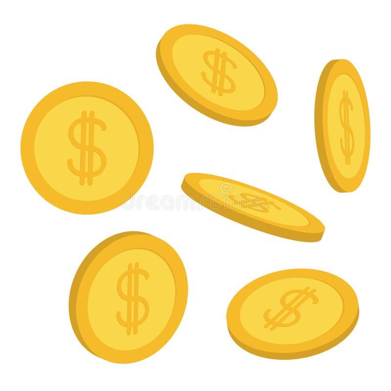 Złocistej monety 3D ikony set Latający spada puszek spienięża pieniądze deszcz Dolarowego znaka symbol Dochód i zyski biznesu map royalty ilustracja