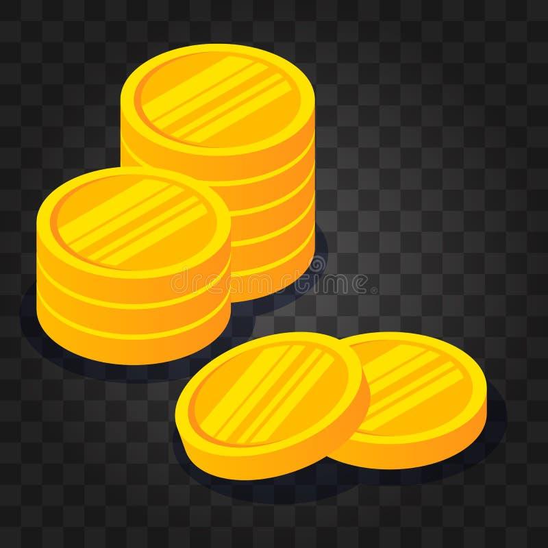 Złocistej monety sterta na ciemnym przejrzystym tle Wektorowa ilustracja w 3D isometric stylu Płaski żółty pieniądze ilustracja wektor