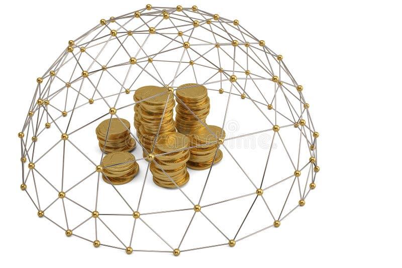 Złocistej monety sterty i molekuły w okręgu round compositi zdjęcie royalty free