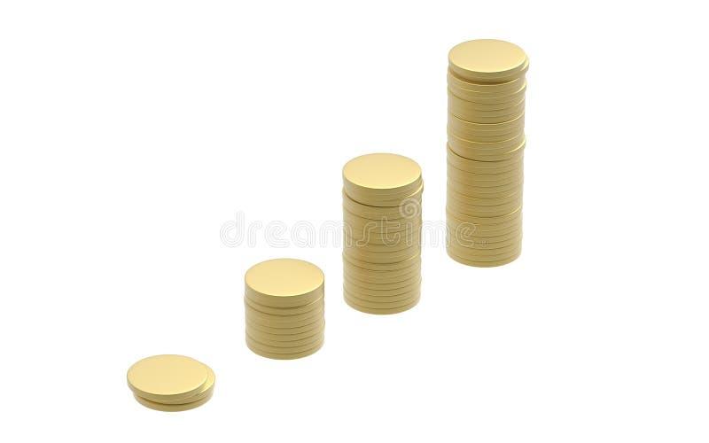 Złocistej monety stosu wzrost ilustracji