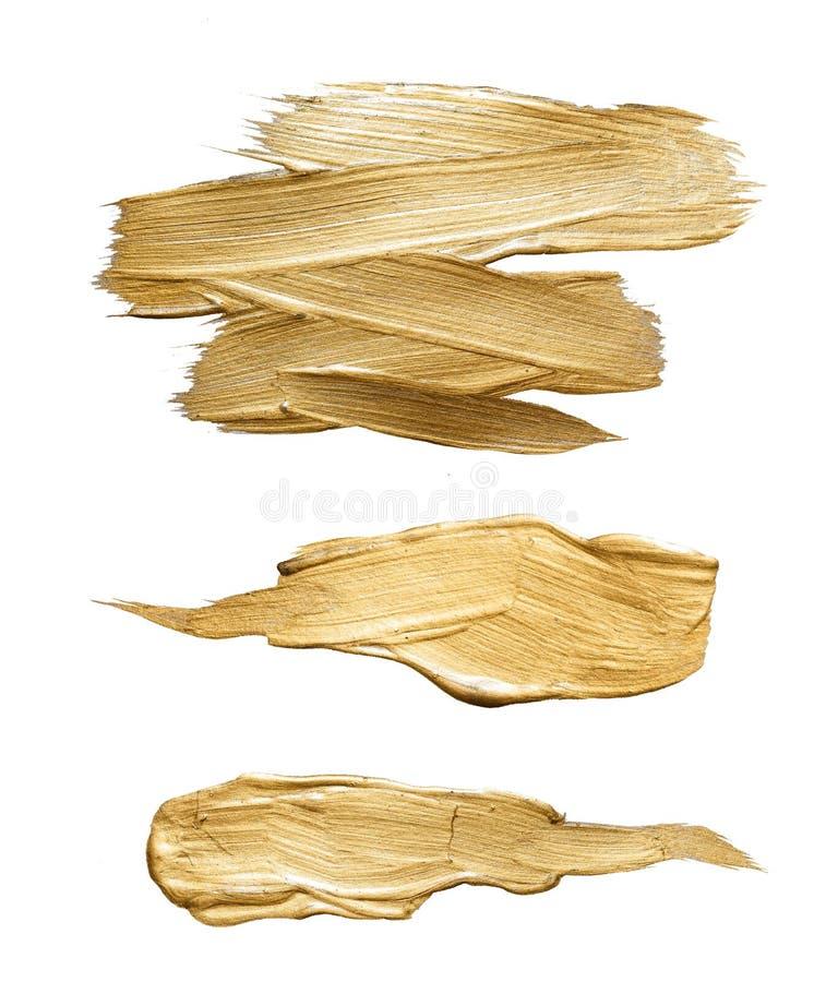 Złocistej mosiężnej akwareli tekstury farby plamy ilustraci abstrakcjonistyczny set Olśniewający szczotkarski uderzenie dla ciebi ilustracja wektor