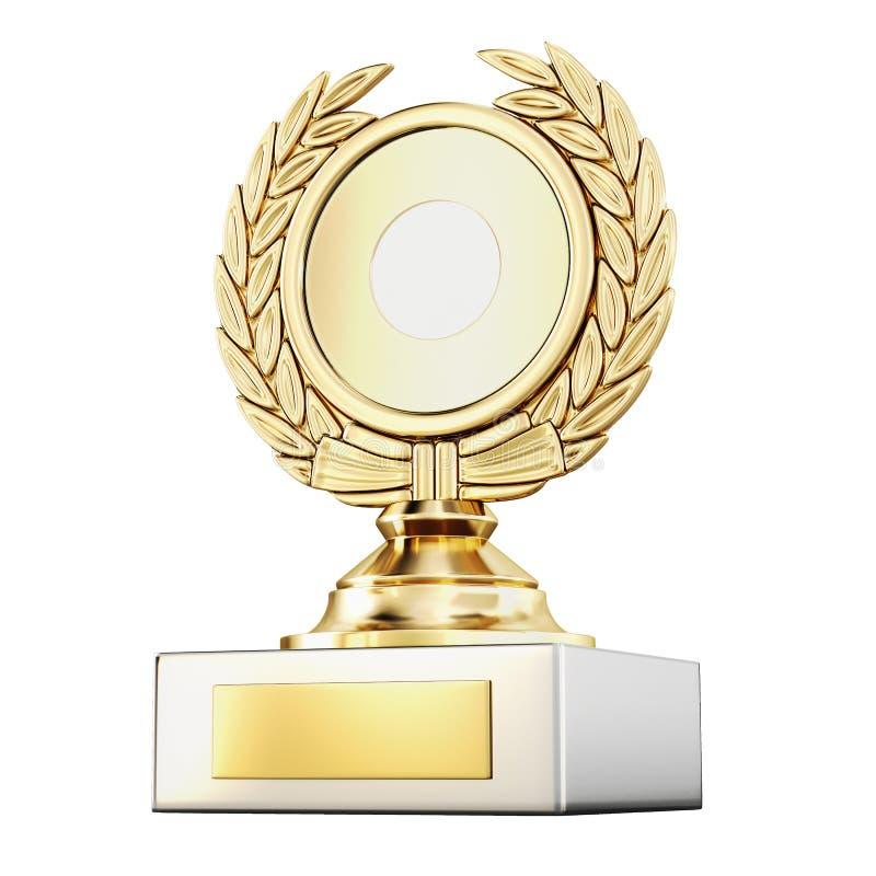 Złocistej nagrody laurowy wianek odizolowywający na białym tle 3 d czynią royalty ilustracja