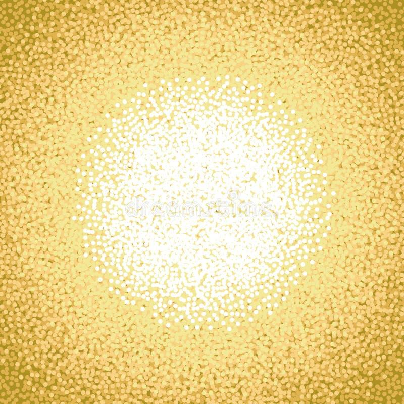 Złocisty Żółty Pomarańczowy Biały 2017 nowego roku płatka Śnieżny tło Boże Narodzenie okręgu kropek zimy płatka śniegu wzoru tło ilustracja wektor