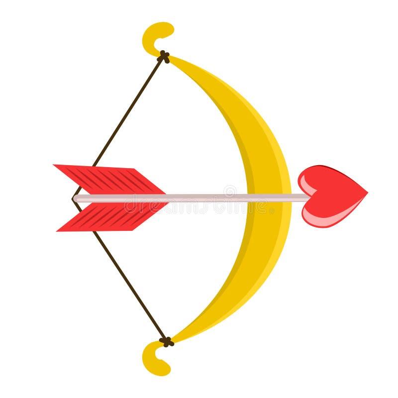 Złocisty łuczniczki broni symbol i czerwieni serca strzała projekta ilustraci zapasu use wektor twój ilustracji