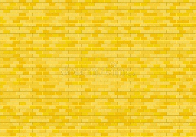 Złocisty ściany z cegieł tło Żółtej cegły tekstury bezszwowy deseniowy wektor royalty ilustracja