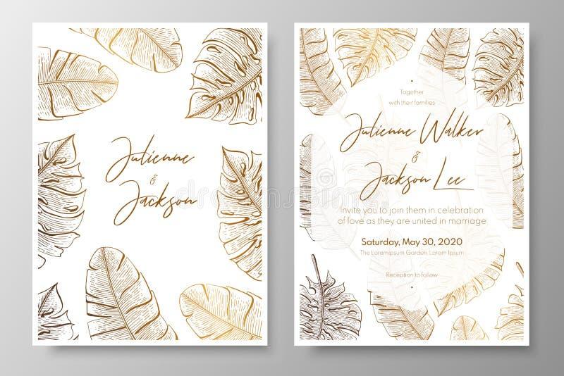 Złocisty ślubny zaproszenie z tropikalnymi liśćmi Wektorowi elementy dla projekta szablonu Złociści tropikalni liście dla kart ilustracja wektor
