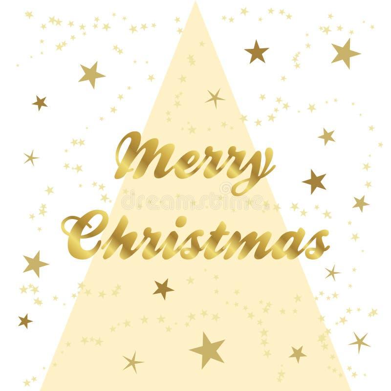 Złocisty świąteczny bożego narodzenia kartka z pozdrowieniami ilustracji