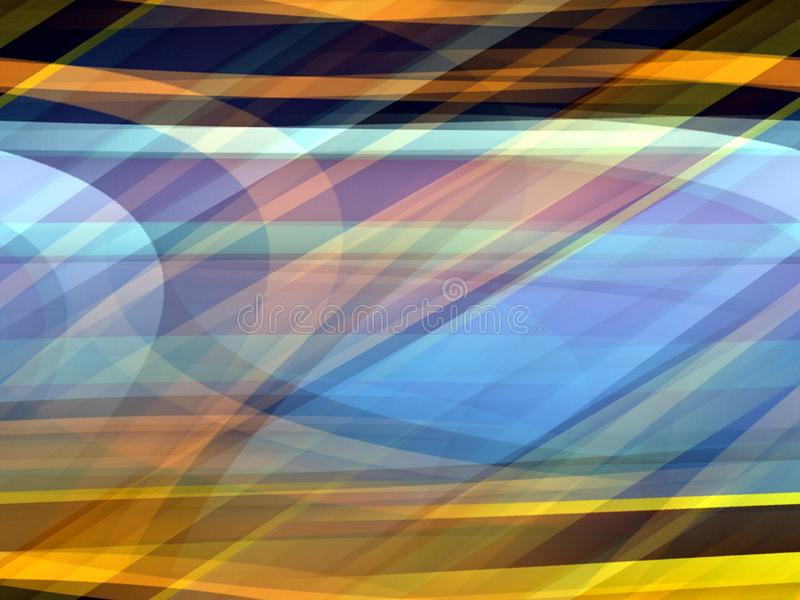 Złocisty żółty błękitny miękkich linii tło, abstrakcjonistyczne kolorowe geometrie ilustracja wektor