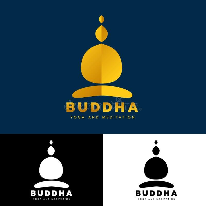 Złocisty abstrakcjonistyczny Buddha logo znaka joga i medytacji pojęcia sztuki wektorowy projekt royalty ilustracja
